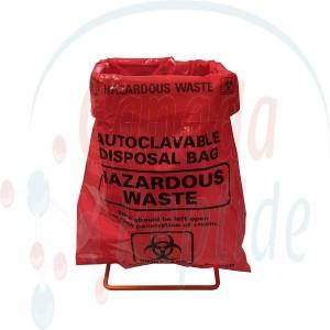 "216mm x 279mm (8.5"" x 11"") Red Biohazard Bags w/ black printed markings, box of 100"