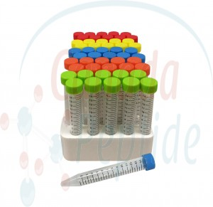 15ml PP (17x118mm), flat rainbow screw cap, 50/foam rack, sterile
