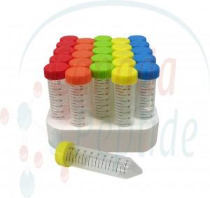 50ml PP (29x115mm), flat rainbow screw cap, 25/foam rack, sterile